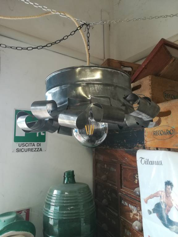 Galvanized tin chandelier